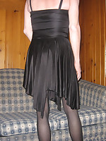 Sleek black dress and crotchless nylon pantyhose look simply great